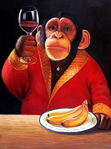 Cuadro sobre lienzo para pared, póster con imagen de animal, mono, chimpancé, bebiendo vino, sala de estar, decoración del hogar, sin marco, 70x50cm