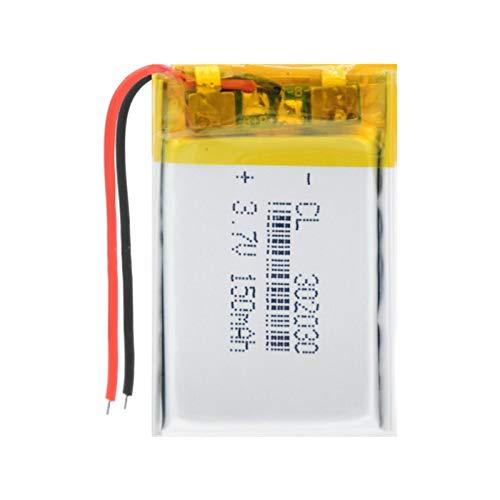 ndegdgswg 3.7V 150mAH 302030 batería de litio de polímero de iones de litio para palo selfie GPS MP3 alarma LED lámpara altavoz Bluetooth 1pc