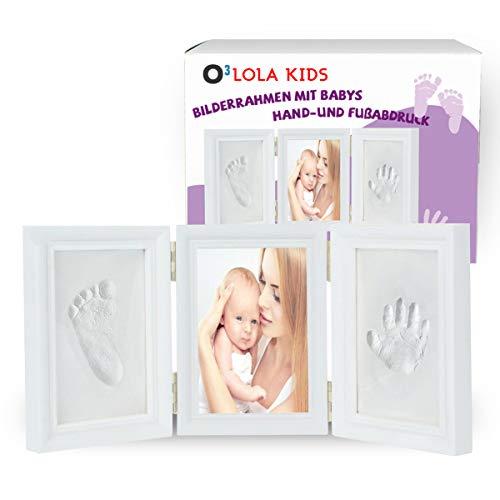 O³ Baby Handabdruck und Fußabdruck // 3 teiliger Bilderrahmen mit Abdruck Set aus Ton