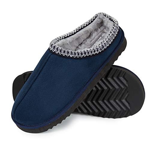 Dunlop Zapatillas Casa Hombre, Zapatillas Hombre Interior Forro Polar, Pantuflas Hombre Suela Antideslizante, Regalos Originales para Hombre y Adolescentes (43, Azul, Numeric_43)