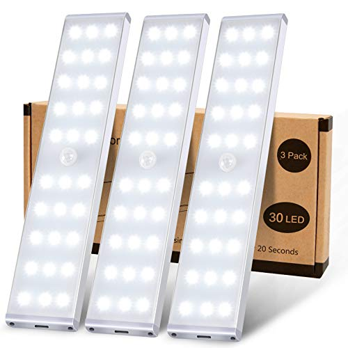 LED Closet Lights, KSQ 30 LED Super Bright Wireless Under Cabinet Lighting Rechargeable, Full Screen Illumination Under Cabinet Lights for Kitchen Wardrobe Stairs Hallway (3Pcs,White)