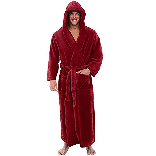 DEATU Robes for Men with Hood Big & Tall Coral Velvet Flannel Robe Fall Winter Warm Plush Shawl Bathrobe Loungewear Coat (003 Robe with 2 belts #Red,Medium)