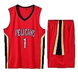 DYJXIGO Hombres Baloncesto Jersey Pelicans #1 Williamson, Retro Jerseys Verano Trajes Uniforme Kits Top Shorts 1 Set, rojo, XXL