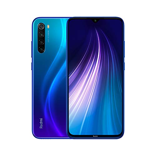 Xiaomi Redmi Note 8 (64GB, 4GB) 6.3' Display, Snapdragon 665, 48MP Quad Camera, Dual SIM GSM Factory Unlocked - US & Global 4G LTE International Version (Neptune Blue, 64GB + 64GB SD + Case Bundle)