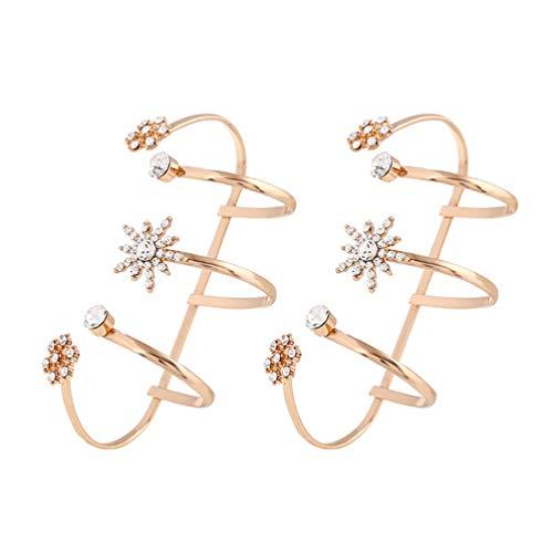 Holibanna 2 Piezas Anillos de Palma Anillos de Dedo Puños de Palma Anillos de Diamantes de Imitación de Flores para Damas Mujeres (K Oro Diamante Blanco)