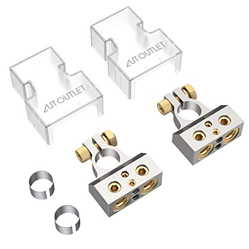 AUTOUTLET Battery Terminals Connector,0/4/8/10 Gauge Heavy Duty Top Post AMP Car Battery Terminal Positive Negative Battery Ends with Spacer Shims Clear Covers for Auto Car Audio Marine Boat(1 Pair)
