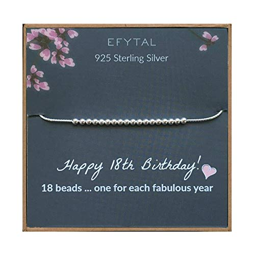 EFYTAL 18th Birthday Gifts for Girls, 925 Sterling Silver Bracelet, 18 Beads for 18 Year Old Girl, Jewelry Gift Idea