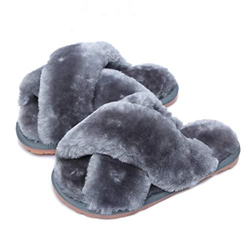 Hitopteu Pantofole Donna Peluche Casa Scarpe Bambini Invernali Slippers Ciabatte Aperta Pantofole Pelose Fluffy Infradito Grigio EU 37/38 per la Dimensione dell'Etichetta 38/39