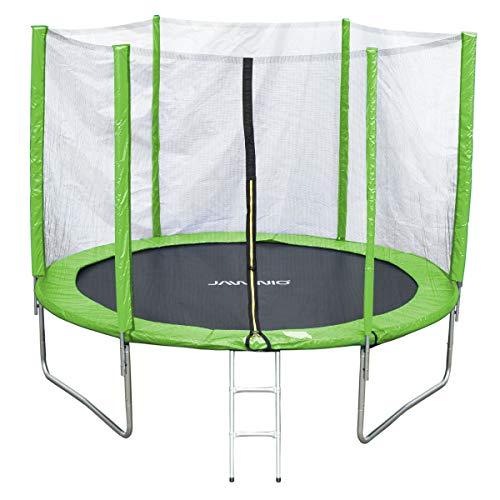 Jawinio Cama Elástica 305cm (10F) Trampolín de Jardín Jumper Set Completo, Incluye Escalera, Red de Seguridad y Salto Matte Verde