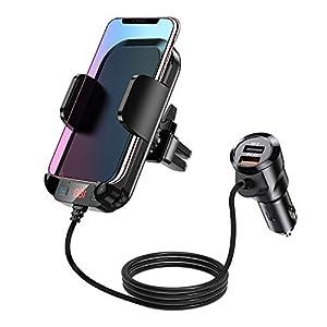 EastPoint Transmisor FM Bluetooth, 2 en 1 Soporte Móvil del Coche, Manos Libres Reproductor MP3 Coche, Adaptador Inalambrico Coche con 2 Puertos de USB QC3.0, Soporte SD USB, Salida AUX, Siri Google
