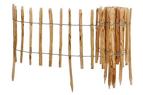 Heracl Valla de postes de 5 m de longitud, espacio de 4-6 cm, valla de madera de paletón, valla enrollable, valla de avellana, decoración para jardín