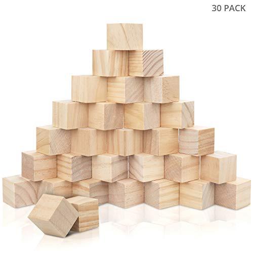 Kurtzy Kleine Holz Würfel (30 STK) - Holzwürfel 3x3x3cm – Naturbelassene Unbehandelte Blanko Holzklötze – Holzblöcke Bauklötze zum Basteln, DIY, Stempel, Mathematik, Bausteine, Spielsteine, Puzzle