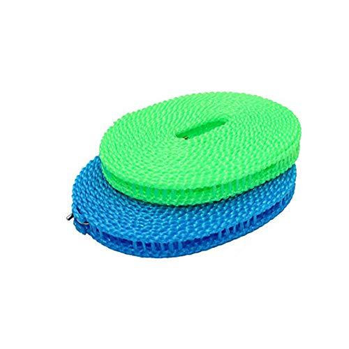 Sungpunet -2 Paquete Tendedero Secado de la Ropa de la Cuerda para Tender la Ropa portátil de Viaje Ajustable para la Cubierta Exterior Tendedero de lavandería, Prueba de Viento línea de Ropa,