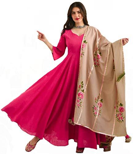 ANNI DESIGNER Women's Cotton Anarkali Kurta and Dupatta (Without Palazzo)(Pink,XXL)