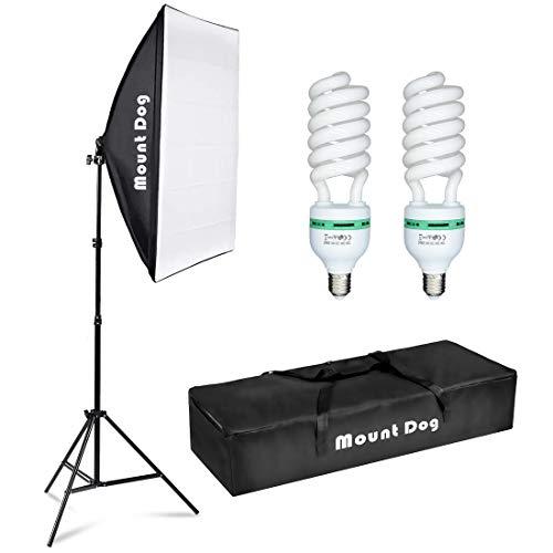 "MOUNTDOG Photography Continuous Softbox Lighting Kit 20""X28"" Professional Photo Studio Equipment with 2pcs 95W E27 Socket 5500K Video Lighting Bulb for Filming Portraits Shoot"