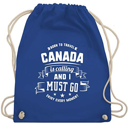 Shirtracer Länder Fähnchen Fahnen und Flaggen - Canada is calling and I must go Weiß - Unisize - Royalblau - kanada geschenke - WM110 - Turnbeutel und Stoffbeutel aus Baumwolle