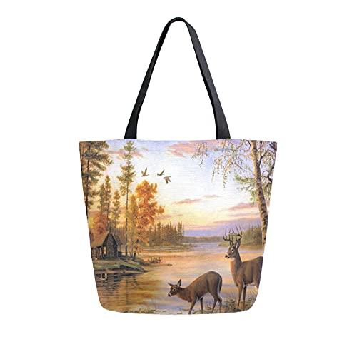 Luckyeah Einkaufstasche mit Sonnenuntergang, Fluss, Hirsch, aus Leinen, große Umhängetasche, wiederverwendbar, für Einkaufen, Handtasche für Mädchen und Damen