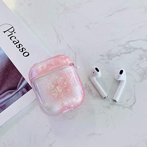 Kompatibel mit Airpods 2 Hülle Case Transparente Glitzer Glänzend Liquid Treibsand Hart Plastik Schutzhülle Kratzfest Stoßfest Mädchen Frauen Bluetooth Cover Klar Case für Airpods 1/2 - Rosa