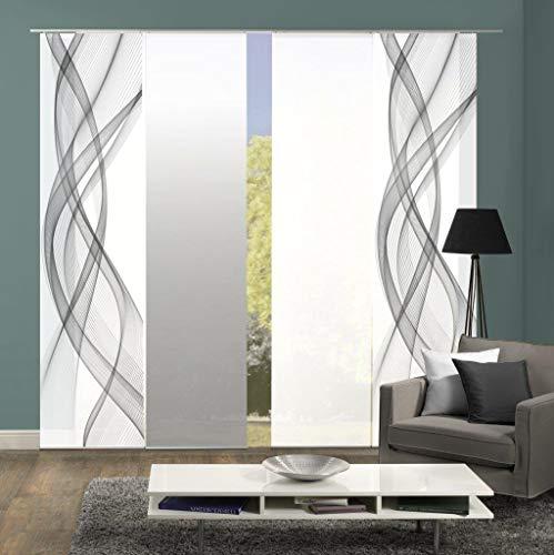 Home Fashion 94575 | 4er-Set Schiebegardinen FERROL | blickdichter Dekostoff & transparenter Halborganza | 4X jeweils 245x60 cm | Farbe: (grau)
