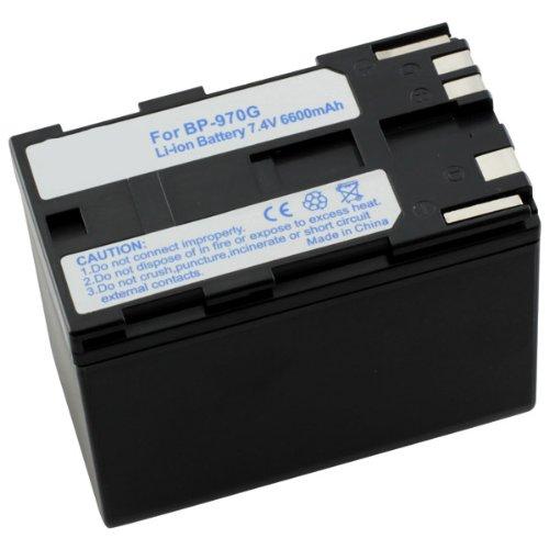 Accu, vervangende accu Canon BP-970G met 6600mAh voor Canon C2 DM-MV1 / DM-MV10 / E2 / E30 ES-50 / ES-60 Hi8 / ES-65 Hi8 / ES-75 Hi8 / ES-300V / ES-410V / ES-420V Hi8 / ES-520A / ES-4000 / ES-5000 / ES-6000 / ES-6500V / ES-7000es / ES-7000es / ES-8000V / ES-8100H18 / ES-8100V / ES-8200V / ES-8200V Hi8 / ES-8400V Hi8 / ES-8600 FV1 G-10Hi / G30Hi / G35Hi / G45Hi / G-1000 / G-1500 GL1 / GL-1 / GL2 (Mini DV) MV1 / MV10 / MV100 UC-10V100 Hi / UC-V20Hi / UC-V30Hi / UC-V100 / UC-V200 / UC-X1Hi / UC-X2 / UC-X2Hi / UC-X30Hi / UC-X40Hi / UC-X45Hi / UC-X50Hi / UC-X55Hi V40 / V40Hi / V60Hi / V60Hi / 65Hi / V60Hi / Hi / V72 / V75Hi / V420 / V520 XF100 / XF105 / XF300 / XF305 XH A1 / XH A1S / XH G1 / XH G1S / XL1 / XL1S / XL2 / XL H1 / XL H1a / XL H1S / XM1 / XM2 / XV1 / XV2 Li-Ion PDA-punt