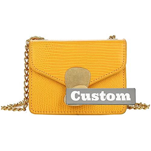 RXDZ Monedero vegano personalizado para mujer de cuero genuino bolso organizador pequeño amarillo (color: amarillo, tamaño: talla única)