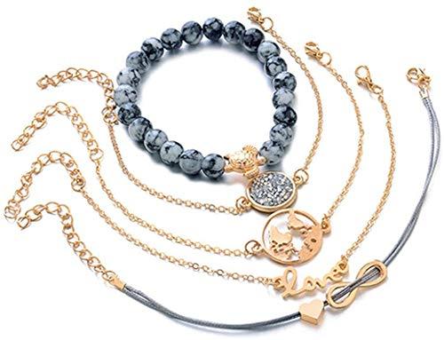YS Bracelet Woman Map Turtle Love Bracelet Turtle Heart Map Pendant Bracelet Wrist Chain Jewelry Accessories