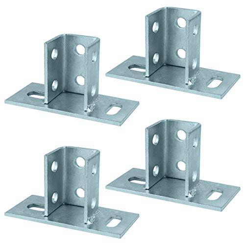 TSSS 4 pezzi 2 fori a U per pali di ancoraggio a terra, base di supporto per canale piccolo quadrato da 45 mm, altezza 75 mm, in acciaio al carbonio Q235B