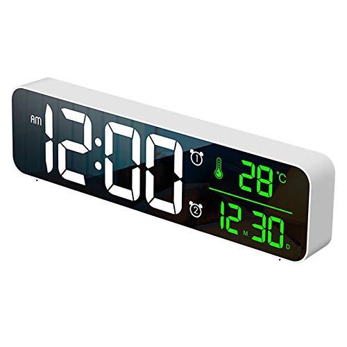 One plus one Reloj De Pared, Relojes De Alarma Digital LED para Snooze, Tiempo De Temperatura Digital, Música, Reloj Dual con Cargador USB, Pantalla Grande De Dígitos, Brillo Dimmer