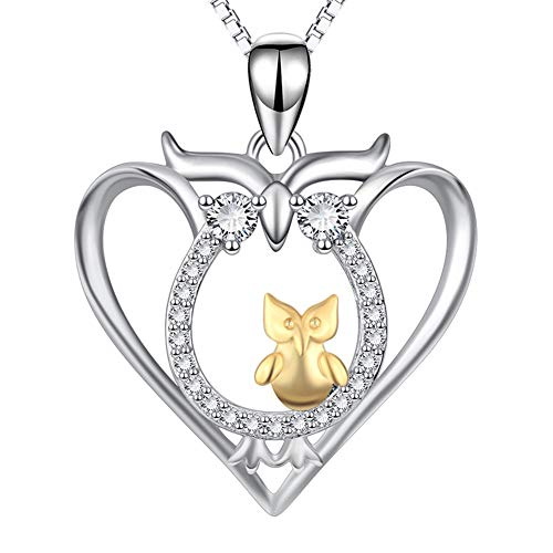 Bbyaki S925 Sterling Silver Owl Madre Y El Niño Collar De Señoras Colgantes, 18 Pulgadas De Cadena, Regalo del Día De La Madre