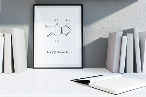 Ritter Mediendesign Bild Kaffee Kunstdruck Koffein Molekül Grafik Poster Druck Deko Geschenkidee Coffeine (Din A4)
