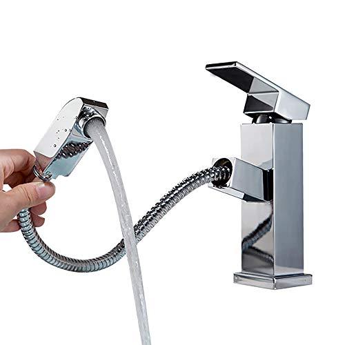 AMTBBK wastafel kraan, uittrekbaar gepolijst messing brede wastafel kraan, enkele handgreep trekker toilet kraan met 2 inlaat slang
