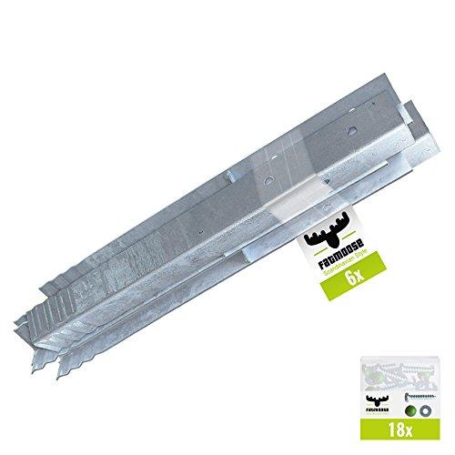 FATMOOSE Winkelanker-Set 6 Stück für Spieltürme, Schaukelgerüste und Leitern, feuerverzinkt, 50 x 4,5 x 4,5cm