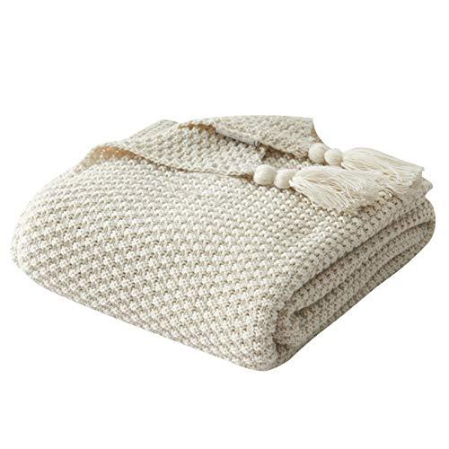 Manta de lana de punto con borla, color sólido, para sofá de ocio, se puede utilizar para la oficina de almuerzo, chal beige-130 x 170 cm