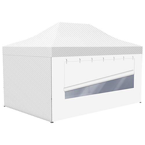 Vispronet® Vollwand mit Panoramafenster für Faltpavillon/Faltzelt Basic/Select in 4 Grundfarben (205 cm x 450 cm (HxB), Weiß)