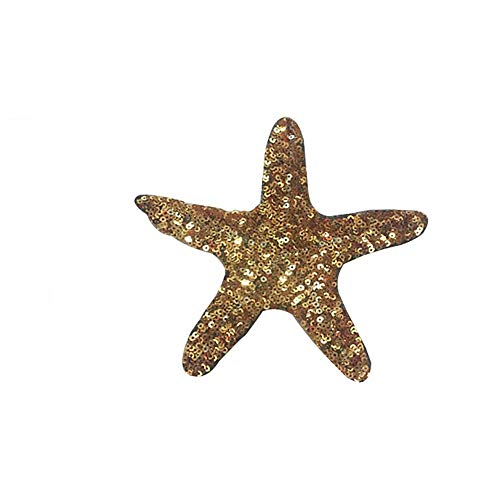 Rancheng Cute Shell Patches Cute Sequin Starfish Patch Cloth Sticker Embroidered DIY Patch Fabric Garment Accessories Applique for T-Shirt Sweater Decoration Patches