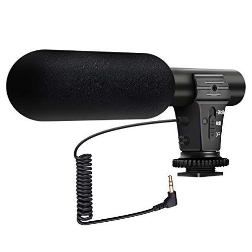 EIVOTOR Microfono per Fucili Microfono a Condensatore Fotografia Registrazione Mono Professionale Microfoni esterni per Sony/Nikon/Canon/DV/DSLR con jack da 3,5 mm Mic
