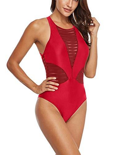 GWLDV Sexy, rückenfreier, schmaler Badeanzug, Badeanzug mit Mesh-Patchwork, einteiliger Badeanzug mit rundem Ausschnitt, 3 Farben, sexy Körperformung, geeignet für den Einsatz an Stränden,Red,XXL