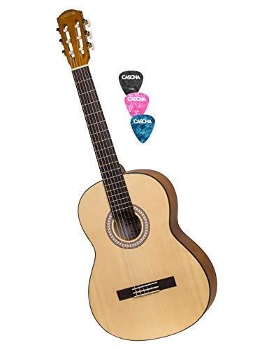 CASCHA 4/4 Konzertgitarre inkl. 3 farbigen Plektren I Hochwertige Gitarre für Anfänger und Kinder ab 10 Jahren I Akustik Gitarre mit Nylon Saiten ideal zum Gitarre lernen I Perfekte Größe 4/4