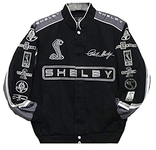 2017 Carroll Shelby Cobra Collage Mens Black Twill Jacket by JH Design (2XL)