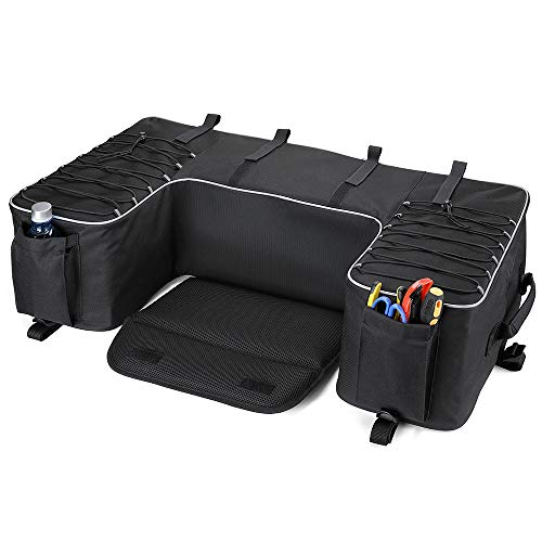 kemimoto ATV Storage Bag Updated Water-resistant Rear Cargo Gear Seat Bags with Cushion, Water Bottle Holder