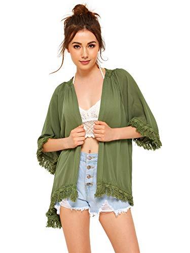 SweatyRocks Women's Tassel Kimono Fringe Cardigan Beachwear Cover up Army Green XL