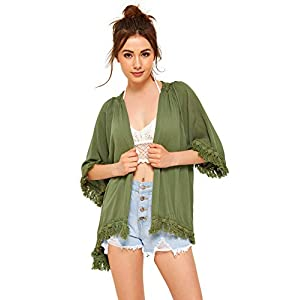 SweatyRocks Women's Tassel Kimono Fringe Cardigan Beachwear Cover up