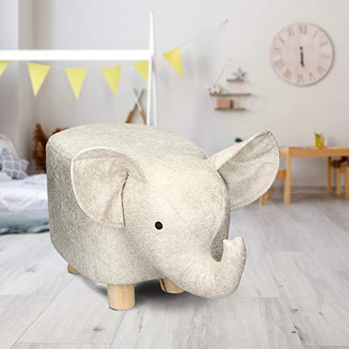 ECD Germany Tierhocker für Kinder 52x25x28 cm Elefant aus Kunstleder Beige mit Massivholzbeine - Kinderhocker gepolstert Sitzbank mit Tier-Design Sitzhocker Polsterhocker Fußbank Fußhocker Dekohocker
