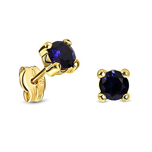 Miore Ohrringe Damen runde Ohrstecker mit Edelstein/Geburtsstein Saphir in blau aus Gelbgold 9 Karat / 375 Gold, Ohrschmuck