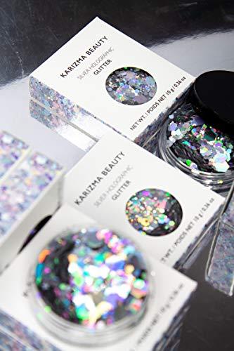 Silver Holographic Chunky Glitter ✮ KARIZMA Beauty ✮ 10g Festival Glitter Cosmetic Face Body Hair Nails