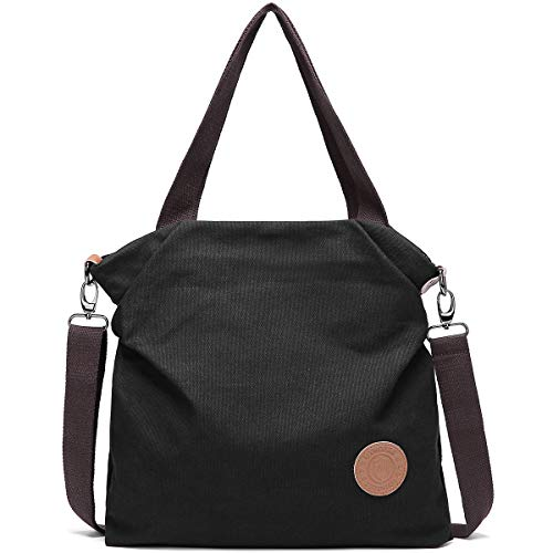 Myhozee Borsa Donna Tracolla,Borse Mano Donna Borse a Spalla in Tela Borsetta Vintage Shopper Messenger Bag Multifunzione per Shopping Scuola Viaggio (Nero)