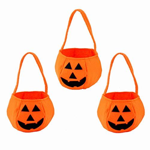 Minleer Halloween Sacchetti di Zucca (3 Pezzi), Sacchetto di Caramelle per Halloween, Caramella Borse a Mano Trick or Treat Borse in Feltro con Maniglia Halloween Costume Festa