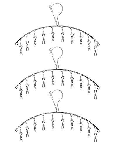 Qualsen 3 Stück Edelstahl Kleiderbügel mit 10 Clips Winddicht Trockengestell für Trocknen Socken, Baby Kleidung, Stoffwindeln, Bras, Handtuch, Unterwäsche, Schal, Mütze, Hose, Handschuhe