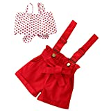 Moneycom Toddler Kids Baby Girls Dot Bow-Tie Jacke + Solid Bretender Pants Set Rot Gr. 4-5 Jahre, rot