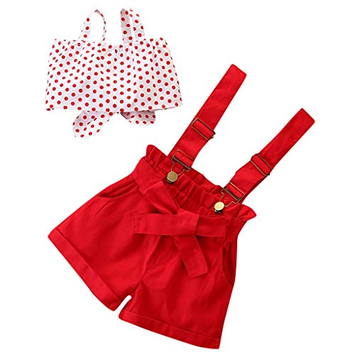 Moneycom Toddler Kids Baby Girls Dot Bow-Tie Jacke + Solid Bretender Pants Set Rot Gr. 9-12 Monate , rot